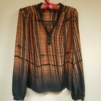 Sami & Jo Womens V-Neck Brown Black Plaid Ombre Pleated Long Sleeve Blouse Small