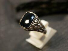 Silber Ring Wie Siegelring Onyx Schwarz Defekt Gerissen Vintage Floral Struktur