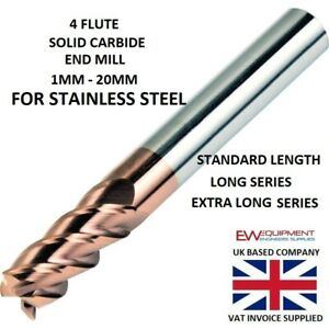 Carbide End Mill 4 Flute FOR STAINLESS STEEL AlTiCrN Coated HRC 60 - 1MM - 20MM