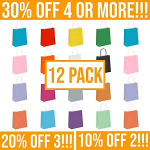 12 Coloured Paper Bags with Handles for Gift Bag, Kids Party & Gifts - Multipack