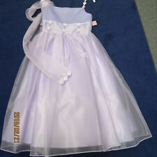 LIWonda flower girl dress size 8 shades of Lilac with scarf, new w/tags