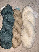 New listing 3 Skeins Merino Wool green Tan White