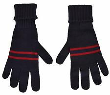 0bcf8d84e6302 New Gucci Men s  175 294732 Blue Wool Red Web Stripe Gloves Mittens M