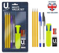 OFFICE SCHOOL STATIONERY SET 8 Piece Pen Pencil Eraser Sharpener & Highlighter