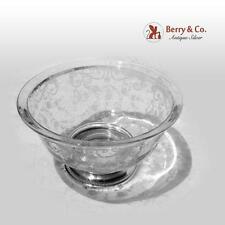 Ornate Large Serving Bowl Acid Etched Glass Sterling Sheffield Silver Co 1940