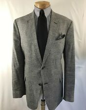 BLAIR UNDERWOOD Men's Sport Coat 46L 2 Button Linen Blend Plaid Jacket Blazer