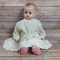 Vtg Antique Large Composite Composition Baby Doll Cloth Body Working Sleep Eyes