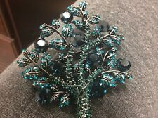 Brooch Signed Opckr Teal And Blue Crystals