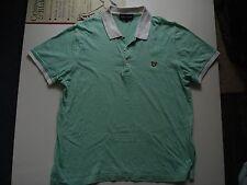 Lyle & Scott Pale Green/White Stripped Cotton Polo Shirt,XL, 41 Inch Chest.