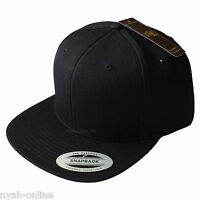 NEW FLEXFIT SNAPBACK CAP *BLACK* PLAIN BASEBALL CLASSIC FITTED FLAT PEAK HAT