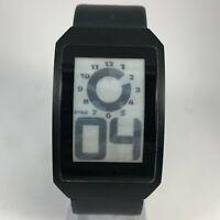 Phosphor Men's Digital Alarm Black Leather Dial Quartz LCD Rectangle Watch READ