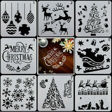 UK DIY Merry Christmas Walls Art Scrapbook 8Pcs Painting Template Stencil Set