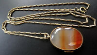 antique Victorian AGATE photo locket pendant pinchbeck gold chain necklace -A439