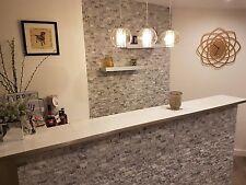Split Face Natural Stone Grey White Quartz Wall Cladding Sparkly Tiles, 25x50mm