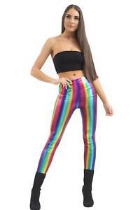 New Ladies Rainbow Metallic PVC Shiny Legging Retro Festive Disco Party Gay Pant