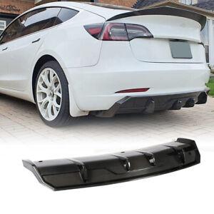 For Tesla Model 3 Sedan 2016-2021 Carbon Fiber Rear Bumper Diffuser Lip Spoiler