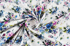 Denim bianco stampa a fiori STOFFA AL METRO TESSUTO A METRAGGIO