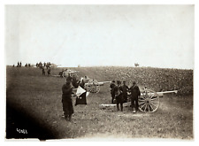 Une batterie, soldats, militaires, canons Vintage silver print Tirage argentiq