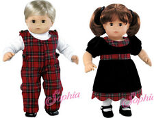 Holiday Christmas Matching Velvet Plaid Sets for Bitty Baby Twins Doll Clothes