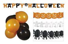 Conjunto De Decoración Fiesta Halloween 10 Globos 3 guirnaldas & Banner