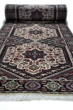 Hand knotted wool brown rug runner Bidjar (77 X 305 cm)