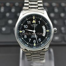 Black Dial Automatic / Wind Up Mechanical Mens Wrist Watch Steel Nice Gift New