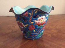 Antique Vintage Emaux de Longwy Enameled Cache Pot Planter, ff482  GIFT QUALITY!