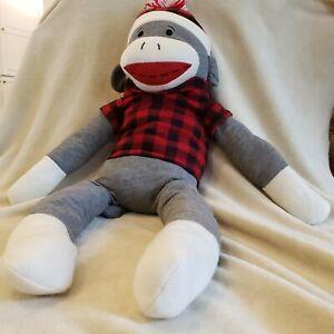 "Dan Dee 37"" Sock Monkey Large Jumbo Giant Plush Animal Plaid Shirt/Hat Free Ship"