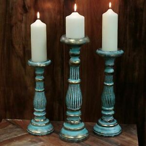 Wooden Vintage Candle Stand Turquoise Gold Candlestick for Pillar Candles