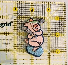 Pink Pig Playing Baseball Iron on Applique/Pig Sports 🐷 Colorful