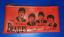 """THE BEATLES  RED PENCIL CASE ZIPPERED POUCH 5.5""""  X 10.5"""""""