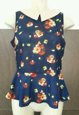 BNWT Atmosphere Ladies Girls Size 8 Blue Floral Sleeveless Tunic Top Spring Wear