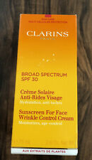 Clarins Paris Sunscreen Face Wrinkle Control Cream SPF 30 Age Control 2.6 oz