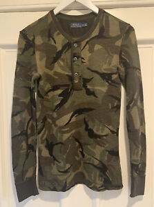 Polo Ralph Lauren Camouflage Green Brown Black Henley Long Sleeved Top Size S