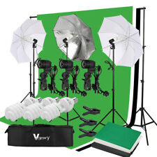 Umbrella Continuos Lighting Black White Green Screen Backdrop Light Stand Kit
