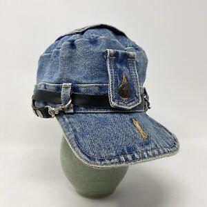 Denim Robo Cap Les Industries Canada Leather strap & Metal Buttons 100% Cotton