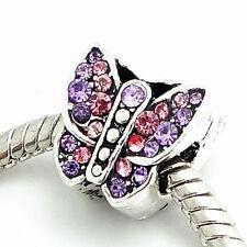 TIBETAN Silver Butterfly rosa viola PIETRA europeo Charm Perline fitbracelet FR21