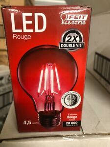 4 FEIT Electric 4.5 watts A19 LED Bulb Rouge (red) Decorative dimmable