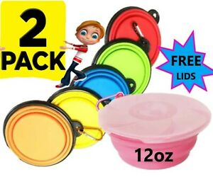 2 Pack Portable Travel Collapsible Foldable Pet Dog Bowl Dish+LID for Water Food