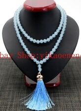 8mm Natural Blue Aquamarine Gemstone 108 Prayer Beads Mala Necklace AAA