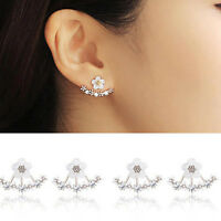 Fashion Women Crystal Flower Rhinestone Silver Earrings Elegant Studs Jewelry