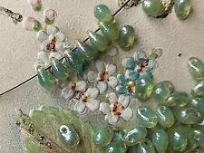 Teardrop Beads,Glass Drops, 4x6mm Drops,Peridot teardrops, Picasso beads #740B