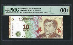 Argentina 10 Pesos (2016) P360a Uncirculated Grade 66