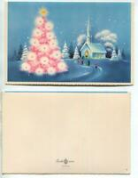 VINTAGE CHRISTMAS WHITE PINK TREE BLUE CHURCH SKY SNOW EVERGREENS GREETING CARD