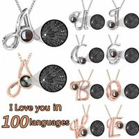 26 Letters A-Z 100 Languages Light I Love You Projection Pendant Necklace Gift