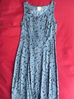 schickes langes grau gemustertes Sommer-Damen-Kleid Größe 36
