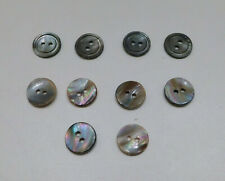 """Lot 10 Vintage Dark Mother-of-Pearl Shell Buttons 2-Hole 1/2"""" Diameter 2 Sets"""