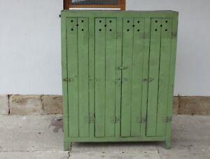 Spind Holz Werkstattschrank Industriedesign Loft Umkleide 4-türig grün  # 2