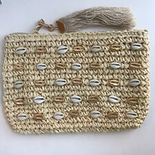 Straw Seashell NWOT clutch Purse Tassle