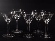 Lot (5) antique Czech Deco figural dancers etched crystal glass liqueur glasses
